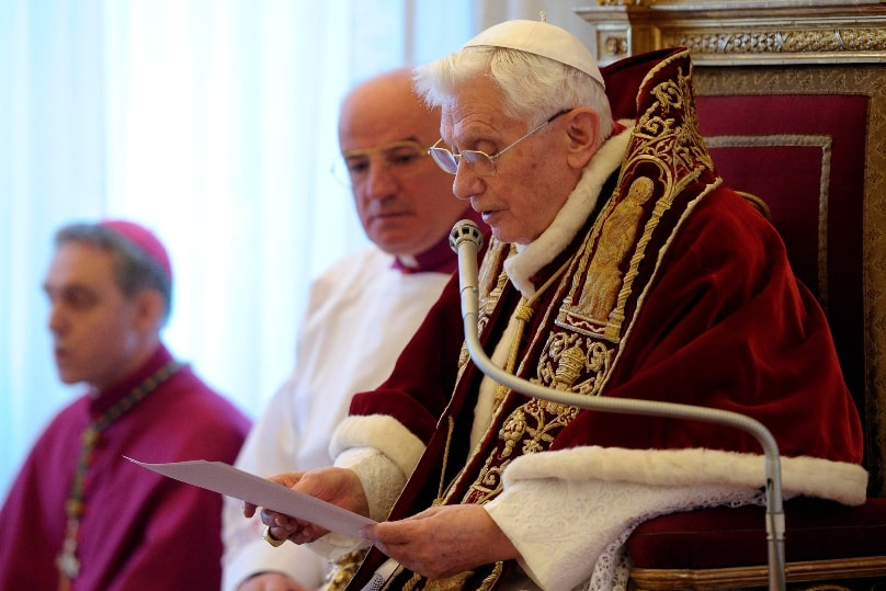 Pope Benedict XVI reads his resignation in Latin during a meeting of cardinals at the Vatican on 11 February, 2013. Photo: CNS/L'Osservatore Romano