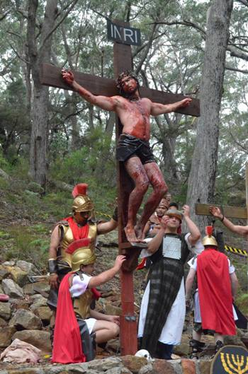 A scene from the 2015 Good Friday Passion Play at the Shrine of Our Lady of Mercy in the parish of Penrose Park.