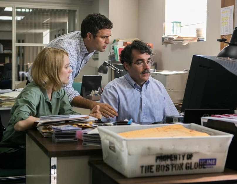 Rachel McAdams, Mark Ruffalo and Brian d'Arcy James star in a scene from the movie Spotlight, about the uncovering and reporting of the clerical sex-abuse scandal in the archdiocese of Boston.