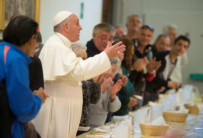 Pope Francis gestures during lunch with the poor at the Mensa di San Francesco Poverino, a charity center run by Caritas, in Florence, Italy, on 10 November. Photo: CNS/L'Osservatore Romano