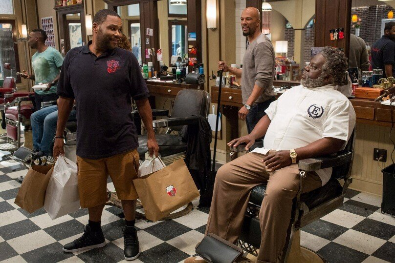 Anthony Anderson, Common and Cedric the Entertainer star in a scene from the movie Barbershop: The Next Cut.