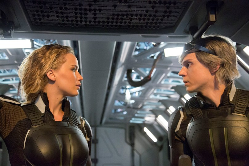 Jennifer Lawrence and Evan Peters star in a scene from the movie X-Men Apocalypse.