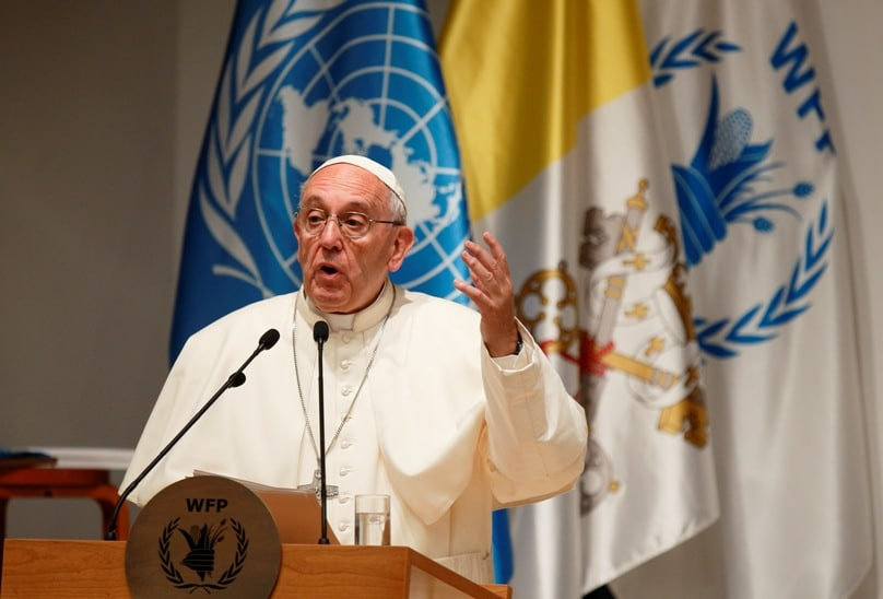 Pope Francis speaks as he visits the headquarters of the World Food Programme in Rome on 13 June. Photo: CNS/Paul Haring
