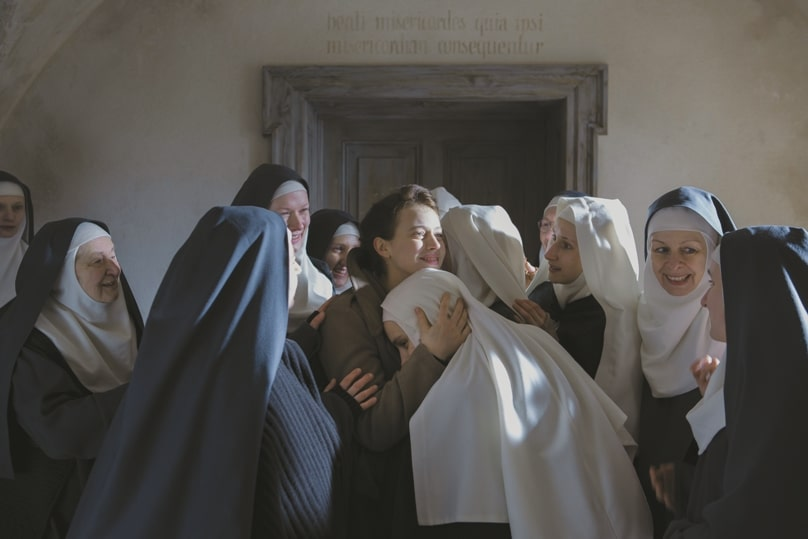 Lou de Laage, centre, stars in a scene from the movie The Innocents. The film is about a group of Benedictine nuns in Warsaw, Poland, after World War II and a French doctor who comes to their aid. Photo: Music Box Films