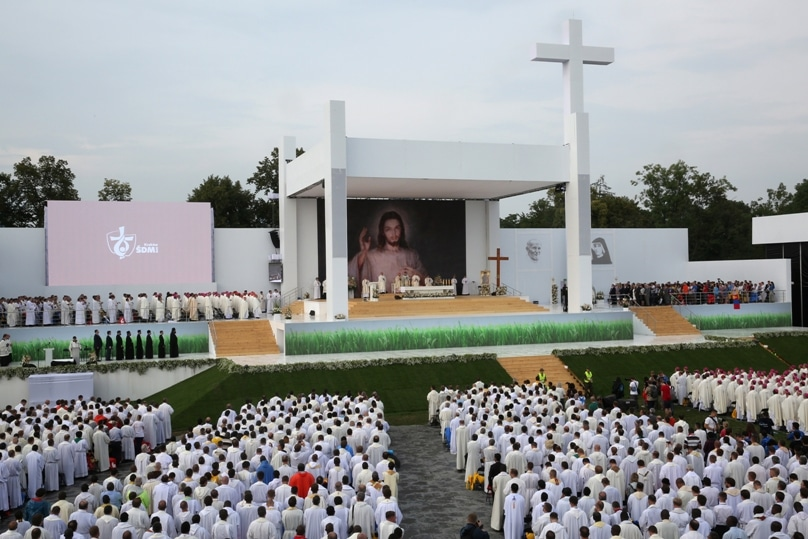 Bishops bishops and priests attend the opening Mass for World Youth Day on 26 July at Blonia Park in Krakow, Poland. Photo: CNS/Bob Roller