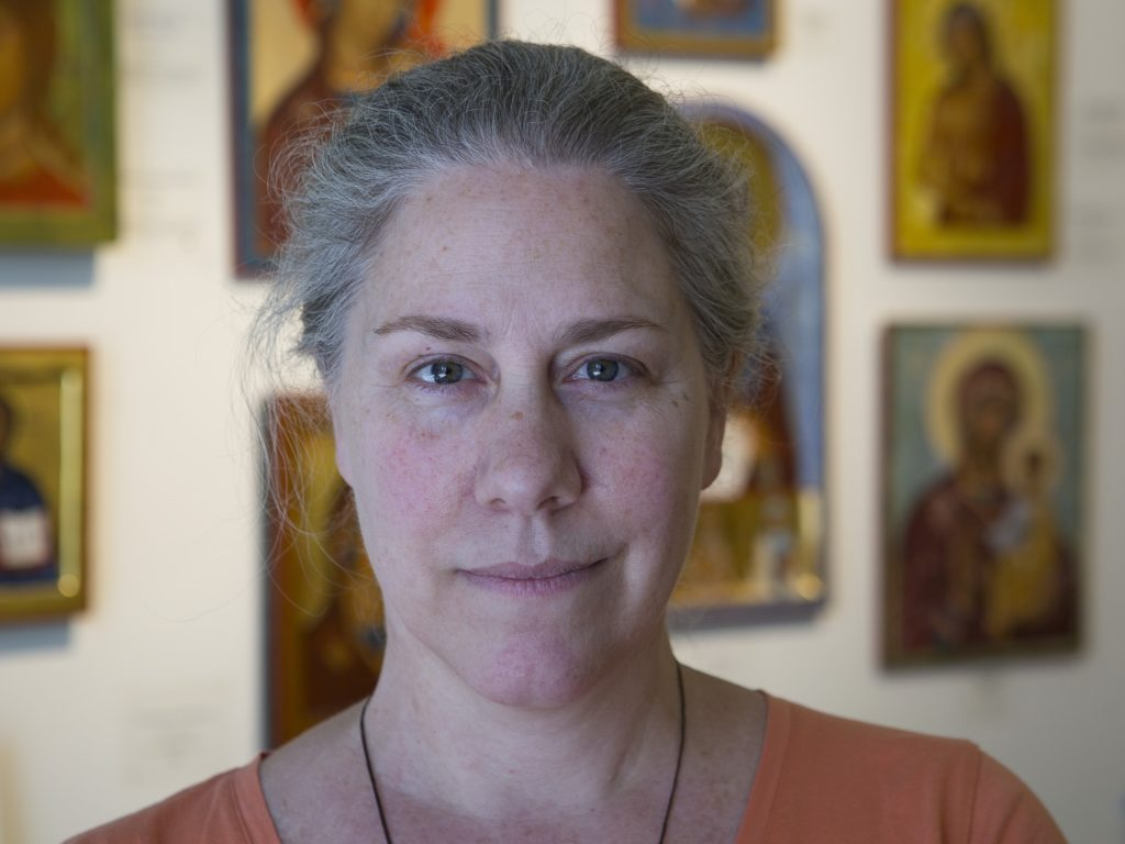 Colette Kalvesmaki, a Byzantine iconographer in Washington, is seen in her studio in July. Photo: CNS/Tyler Orsburn