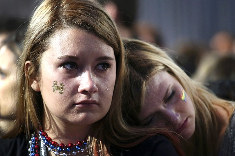 Supporters of Democratic presidential nominee Hillary Clinton react to the news that Republican presidential nominee Donald Trump won the election in the early morning hours of 9 November. Photo: CNS