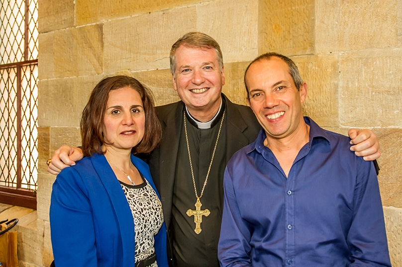 Archbishop Anthony Fisher OP with married couple Antonella and Daniel Mifsud after Marriage Sunday Mass on 2 October. Photo: Giovanni Portelli