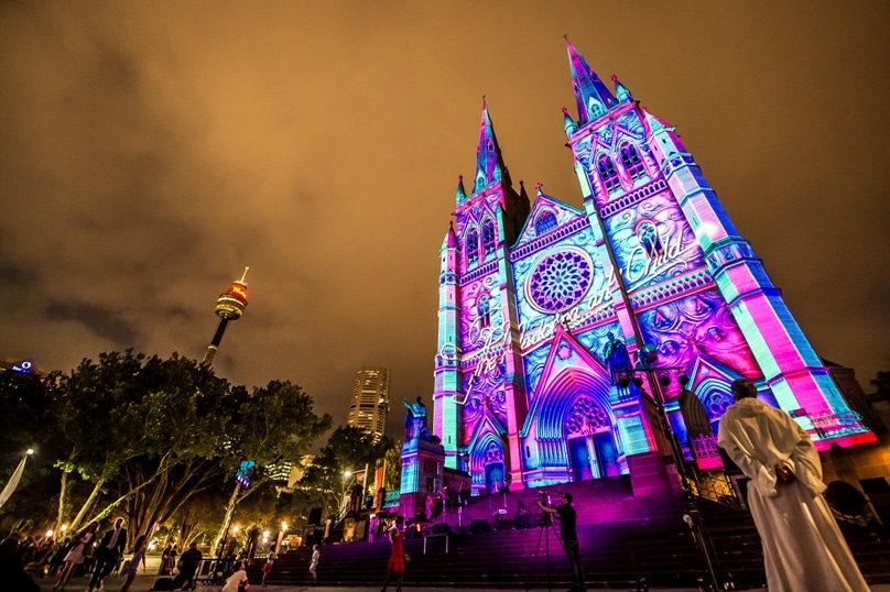 Archbishop Fisher opened the spectacular Lights of Christmas display at St Mary's Cathedral on 9 December, 2014. Photo: Giovanni Portelli