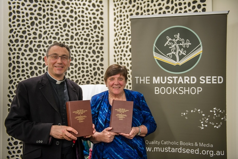 Congregational leader of the Sisters of St Joseph of the Sacred Heart Sr Mary Cavanagh RSJ and the editor of the new, official two volume biography of St Mary MacKillop, Fr Peter Joseph. Photo: Giovanni Portelli