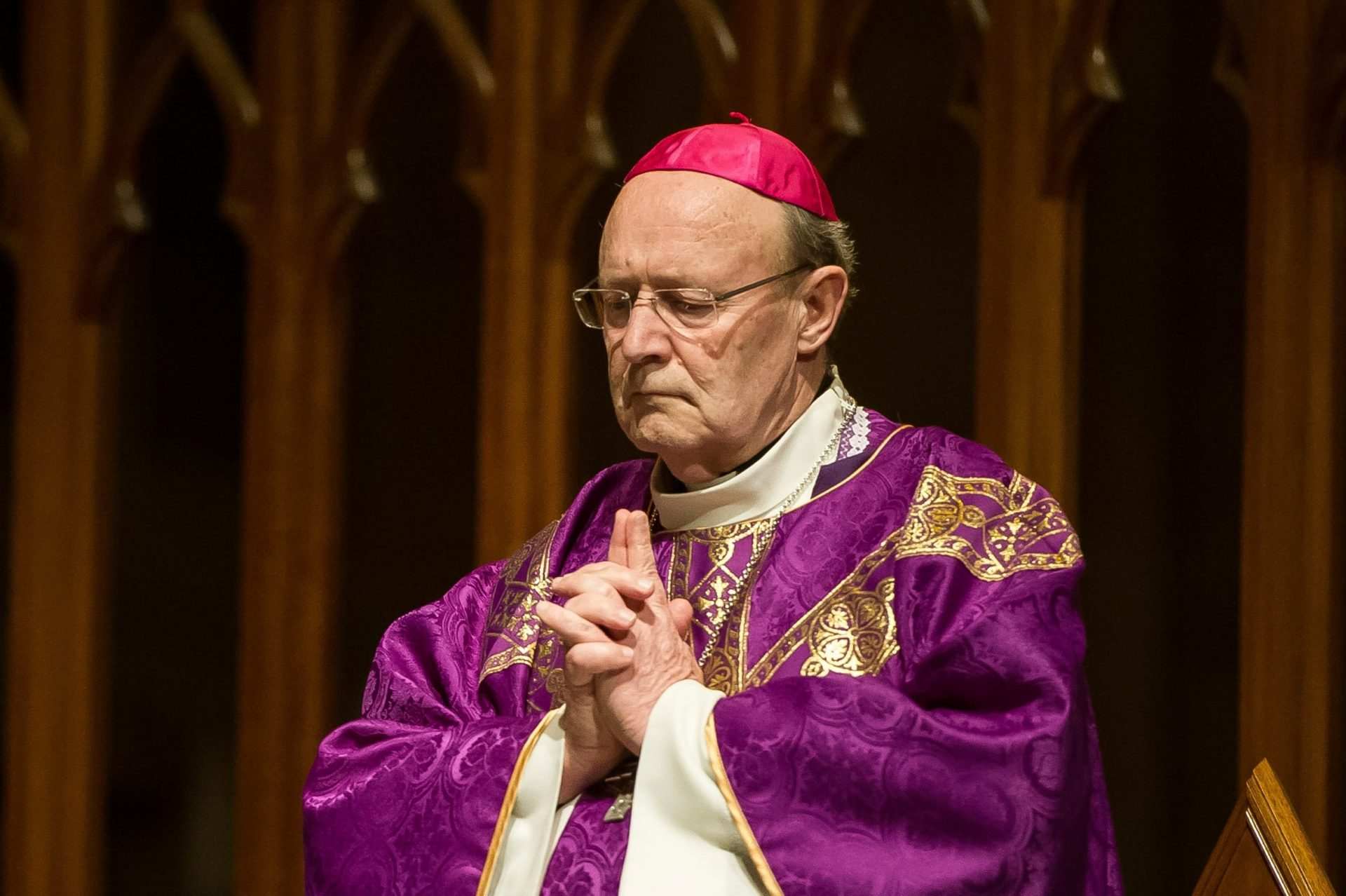 Archbishop Julian Porteous of Hobart participates in a Mass for the Unborn at St Mary's  Cathedral in Sydney in September. Photo: Giovanni Portelli