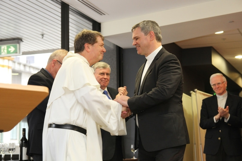 One of Archbishop Fisher's first duties was to farewell Sydney auxiliary Bishop Peter Comensoli on 12 December, 2014, following his appointment as Bishop of Broken Bay.