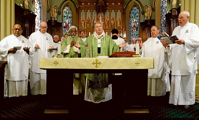 Archbishop Anthony Fisher OP celebrates the 150th anniversary Mass with the Marists Fathers. PHOTO: Patrick J Lee