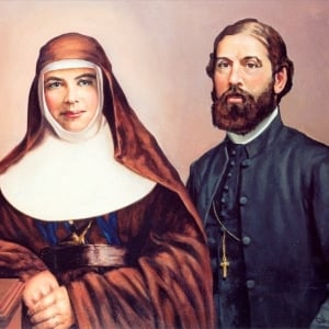 St Mary MacKillop with co-founder Fr Julian Tenison Woods. Photo: Trustees of the Sisters of St Joseph