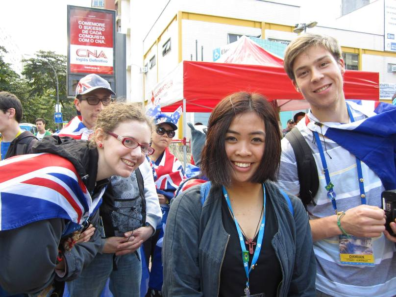 Monica Bautista (centre) had just five weeks until the payment deadline for World Youth Day in Rio de Janeiro and was a long way short of funds, until her parish priest stepped in.