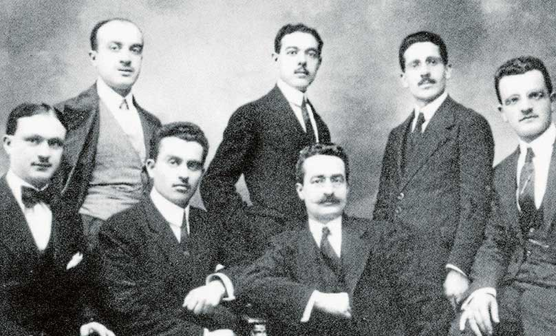 Giuseppe Moscati, third from left sitting, with his first students. Photo: Wikimedia Commons