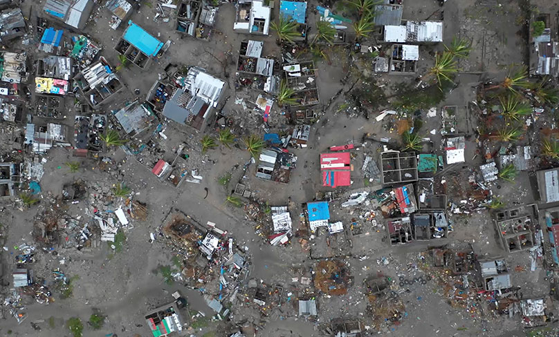 An aerial view taken March 19, 2019, shows destruction after a Cyclone Idai in Beira, Mozambique. Photo: CNS photo/Josh Estey, Care International via Reuters