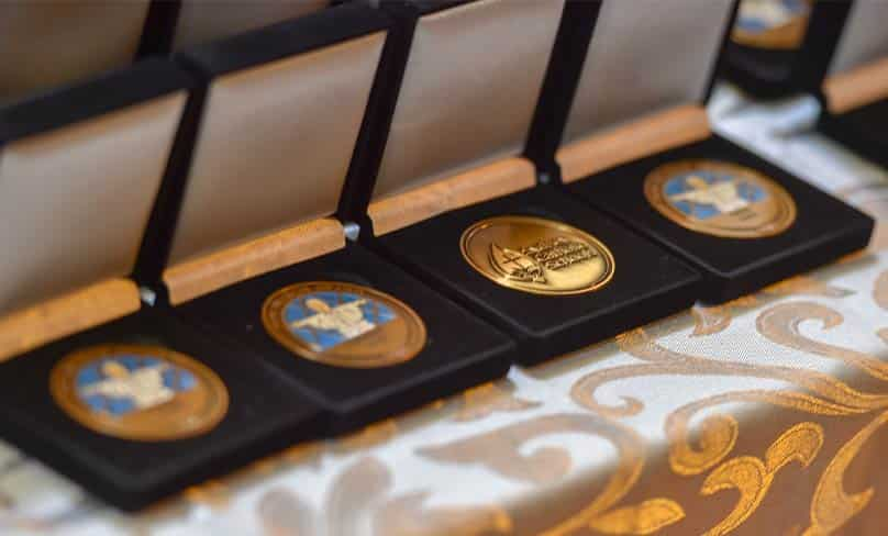 The Pope Francis medals awarded to students for service in the community. Photo: Kitty Beale