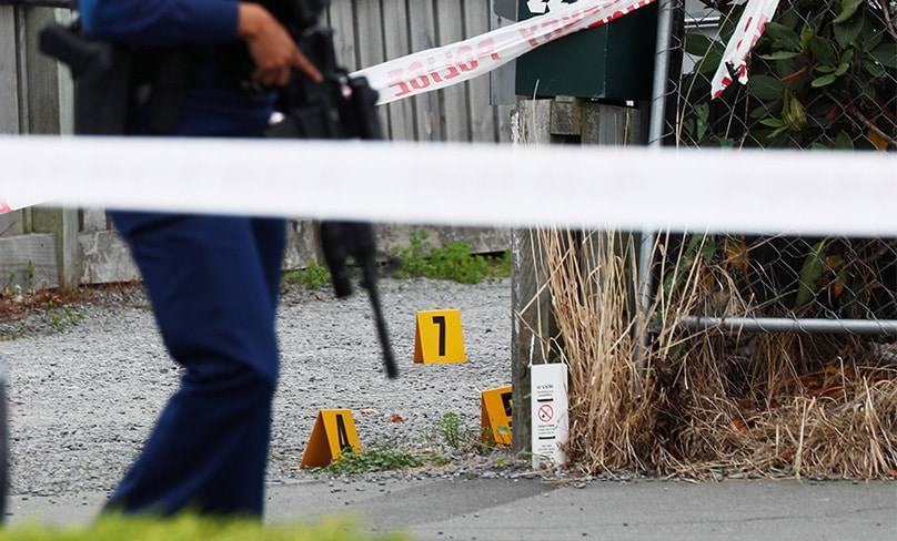 Police guard the site of a shooting outside the Linwood Mosque in Christchurch, New Zealand. Photo: CNS photo/Edgar Su, Reuters