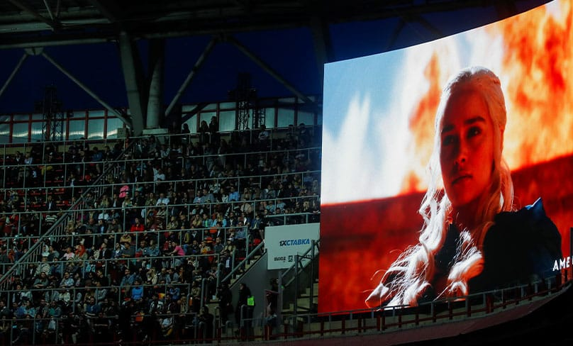 People in Moscow prepare to watch the final episode of Game of Thrones at RZD Arena. Photo: CNS photo/Maxim Shemetov, Reuters