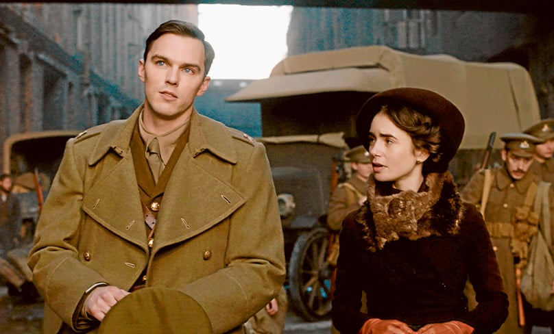 Nicholas Hoult plays J.R.R. Tolkien to Lily Collins's Edith Bratt in a scene from Tolkien. Photo: CNS photo/Fox Searchlight