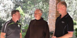 YMT director Steve Toohey (at left) with Fr Paul Maunder OCD and retreat centre manager John Ransom.
