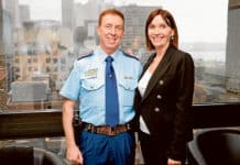 Superintendent Moore, with his wife Maggie, was recently honoured by the Queen with an Australian Police Medal