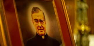 Image of St Josemaria Escriva stands in St Mary's Cathedral at the Mass for the Saint's feast. Photo: Giovanni Portelli