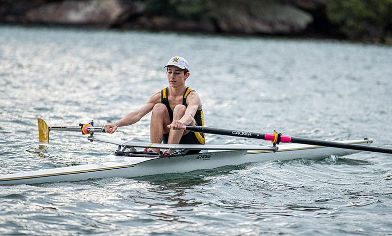 Will Clifton, 15-year-old student from Eileen O'Connor Catholic College at Lewisham, is currently one of the world's fastest rowers for his age group. Photo: Alphonsus Fok