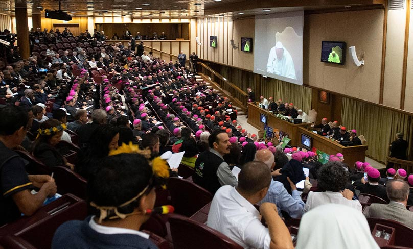 Pope Francis attends a session of the Synod of Bishops for the Amazon at the Vatican. Photo: CNS photo/Vatican Media