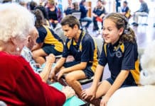 Students from Padstow's St Therese Primary School have met their pen pals from local nursing home. Photo: Alphonsus Fok
