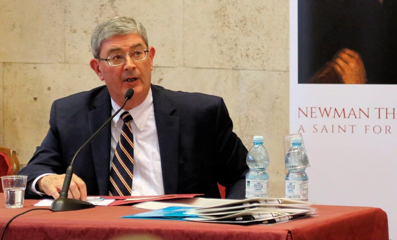 Author George Weigel speaks at a symposium on Cardinal John Henry Newman at the Angelicum University in Rome. Photo: CNS photo/Simon Caldwell