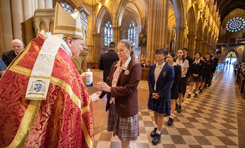 Following the forum, the students headed to St. Mary's Cathedral where they received a blessing from the Archbishop. Photo: Giovanni Portelli