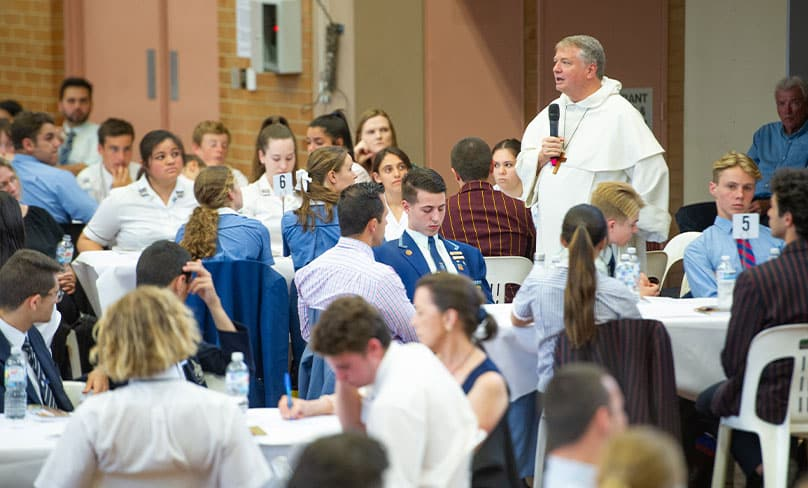 Archbishop Anthony Fisher OP encourages the students present to pursue their faith. Photo: Giovanni Portelli