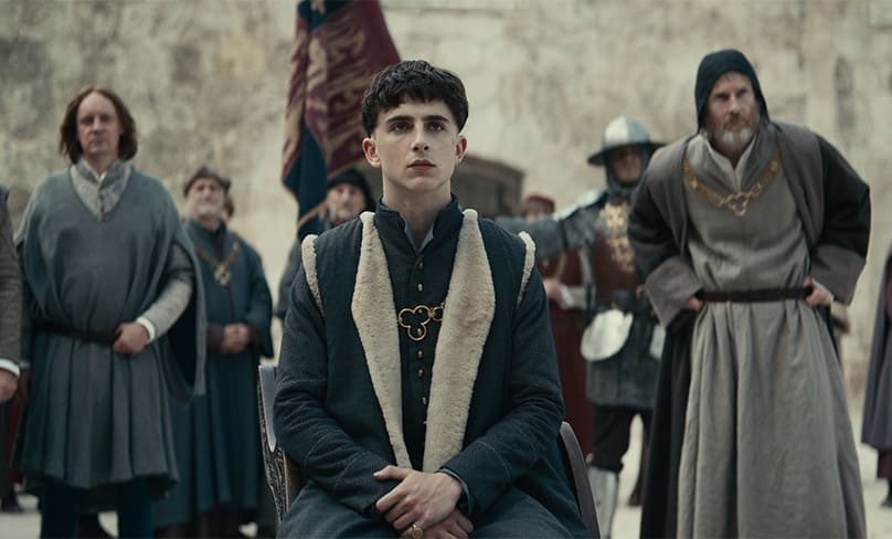 Timothée Chalamet stars as the young King Henry V in Netflix's The King. Photo: Netflix
