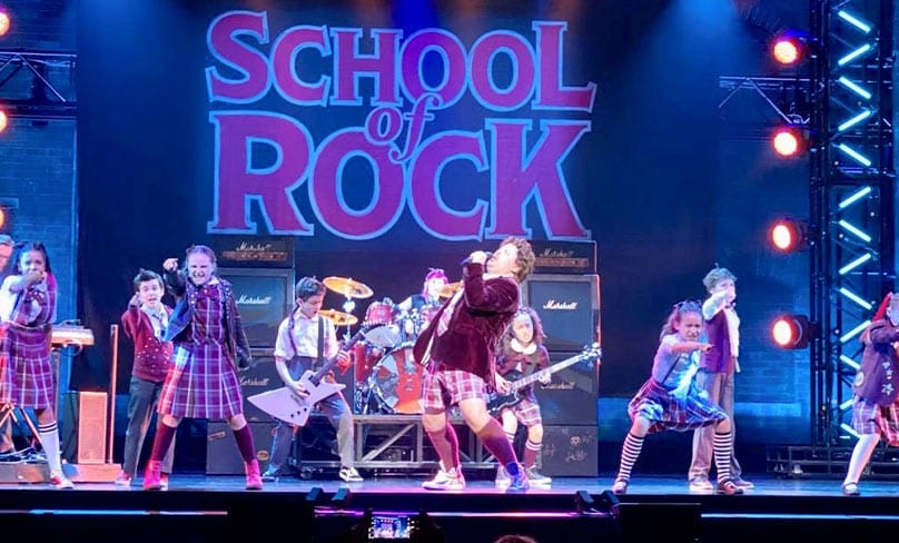 Avaleigh Rock and the cast of School of Rock.