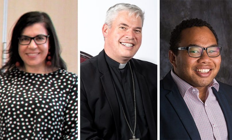 Selina Hasham, Bishop Richard Umbers and Sydney Catholic Youth coordinator Chris Lee are among the delegates attending the Fifth Plenary Council of Australia.