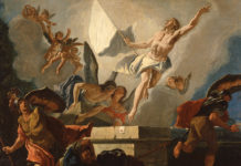 The Resurrection is depicted in a painting by Francesco Fontebasso. Photo: CNS artwork/Bridgeman Images